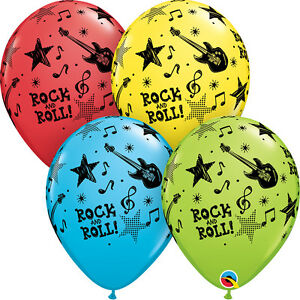 ROCK-amp-ROLL-BALLOONS-10-x-11-034-QUALATEX-60-039-S-ROCK-amp-ROLL-PARTY-SUPPLIES-BALLOONS