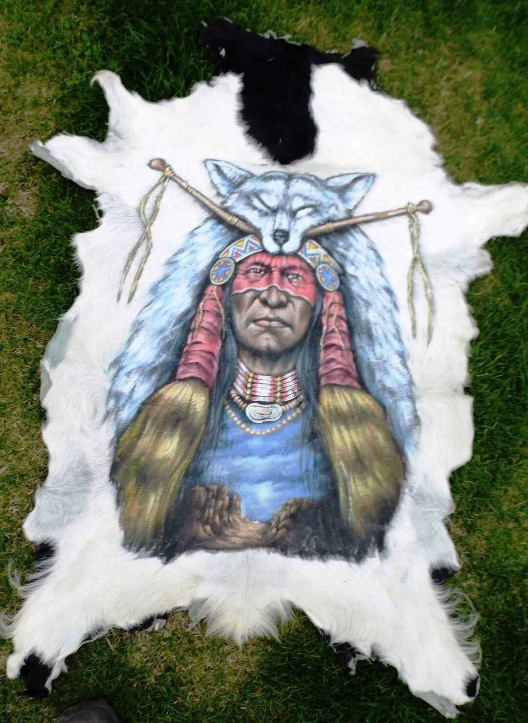 Ziegenfell  Goatskin Leather  Ziege  Tierfell bemalt  Teppich  Läufer | Verrückter Preis