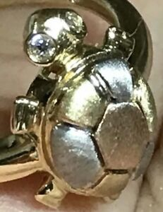 Good-Luck-Turtle-Ring-14k-REAL-GOLD-lucky-tri-manmade-Diamond-7-4-5-6-8-9-10