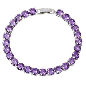 AB292-Purple-Cubic-zirconia-amethyst-White-gold-plated-Bracelets-bangles