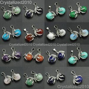 Piedra-Preciosa-Natural-Garra-del-dragon-Ball-Reiki-Chakras-curacion-Colgante-Collares-Perlas