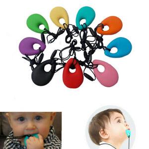 US Teething Necklace Baby Teether Autism Sensory Kid Chew Chewy Silicone Pendant