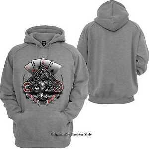 Sweatshirtjacke-Hoody-grau-HD-Biker-Chopper-amp-Old-Schoolmotiv-Modell-4-Aces