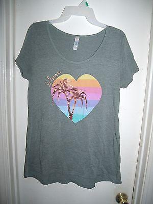 LulaRoe Gray Rainbow Heart Shiny Trees T-Shirt Top Ladies Size S