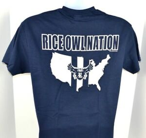 5ef29e1d Details about NCAA Rice Owls Adult Owl Nation Navy Blue T-Shirt MEDIUM  2-Side Print