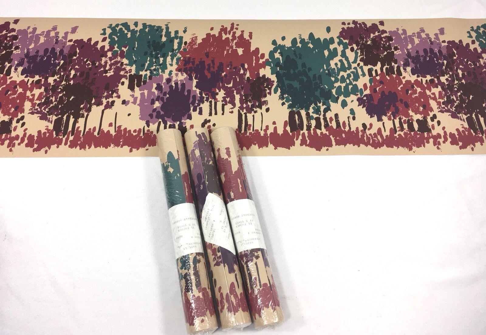 WAVERLY Wallpaper Border TAN Beige Abstract Brushstroke Trees Plum Teal 3 Roll