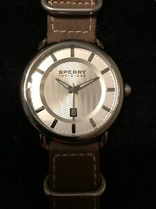 Sperry-Top-Sider-Watch-Leather-Military-Style-Band-Strap-Brown-Silver