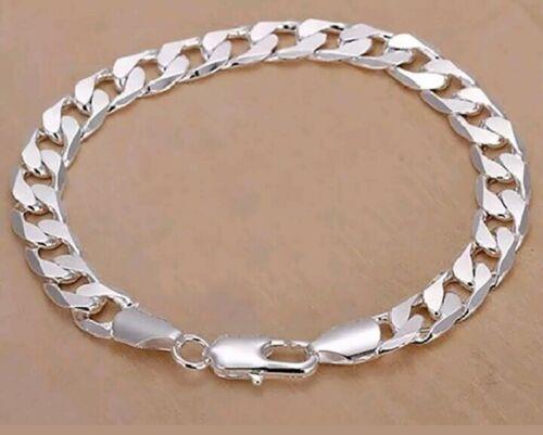Argent Sterling 925 Cubain Lien Chaîne Hommes Femmes 8 mm Bracelet