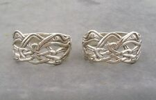 PAIR OF SILVER CELTIC IONA ZOOMORPHIC NAPKIN RINGS ALEXANDER RITCHIE DESIGN