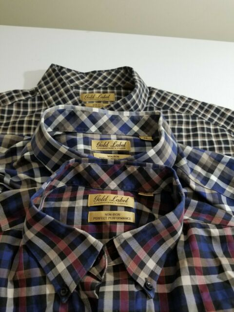 Gold Lable Mens Dress Shirt Size 2XL Long Sleeve Plaid lot of 3 pieces