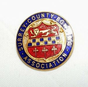 VINTAGE-ENAMEL-SURREY-COUNTY-BOWLING-ASSOCIATION-BROOCH-BADGE-PIN
