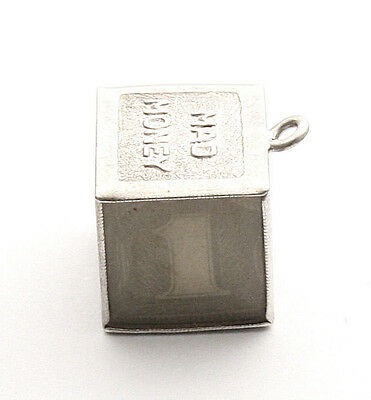 Mad Money Cube Bracelet Charm Sterling Silver Emergency Cash Silver Certificate