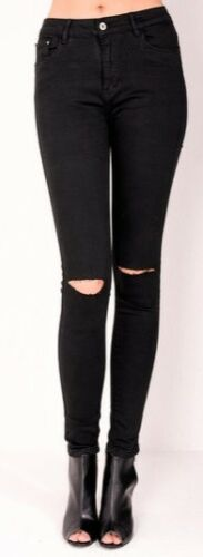 Mango Strappato Jeans Jeggings Donna Skinny Vita Alta Strappato ginocchia Jeans Neri