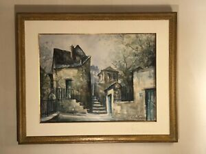 Vtg-Lucien-Delarue-French-Impressionist-signed-watercolor-painting-Paris-scene