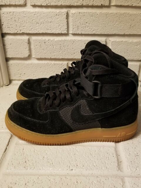 Nike Air Force One 1 High LV8 GS Black Gum Suede Men's Size 7.5