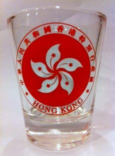 HONG KONG COAT OF ARMS SHOT GLASS SHOTGLASS