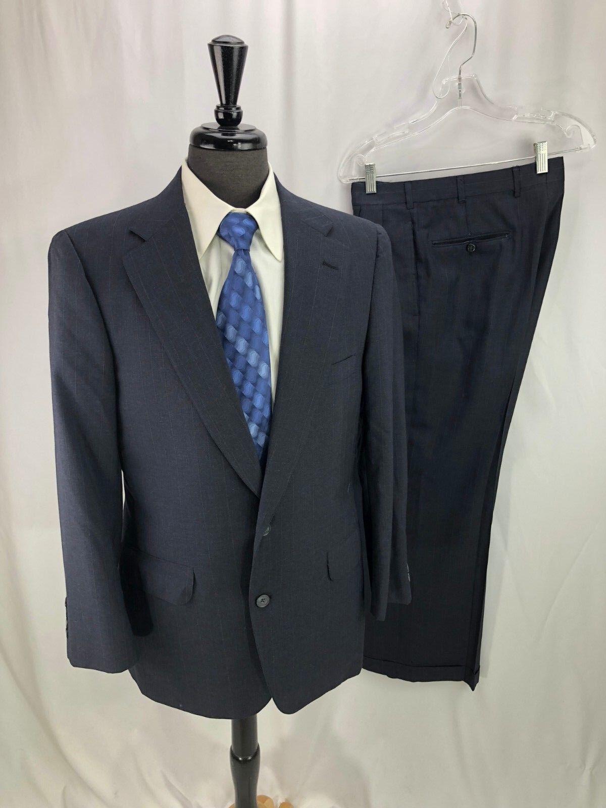 Norman Hilton Mens bluee Pinstripe Wool Suit 40R 32 x 29