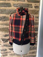 L.A.M.B. Gwen Stefani Red Plaid Lambswool Bomber Jacket Fall 2008, Size 8, EUC!