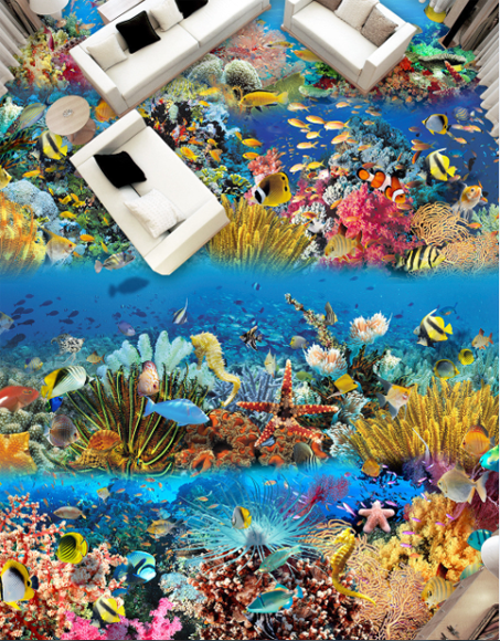 3D Farbeed Coral Fish 578 Floor WallPaper Murals Wall Print Decal AJ WALLPAPER