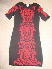 ECI NEW YORK Black & Red Fleur De Lis Floral Scoll Print SS Knit Sweater Dress M
