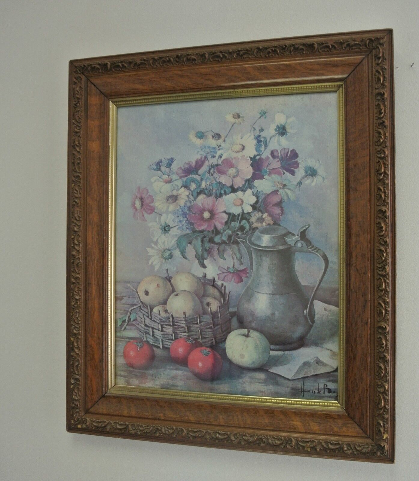 Vintage Carved Wood Frame With Print of Flower Vase, Fruits, and Pitcher, Hank B