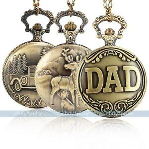 Antique-Vintage-Bronze-Tone-Men-Pocket-Chain-Quartz-Pendant-Watch-Necklace-NEW