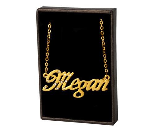 18K Gold PlatedBridal Valentines Love Girlfriend Love Name Necklace Megan