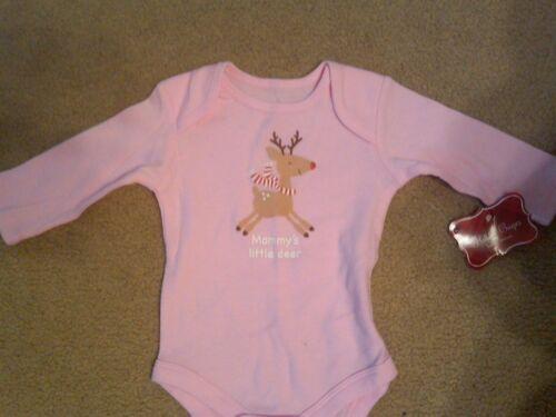 NWT GIRLS PINK CHRISTMAS LONG SLEEVE BODYSUIT MOMMY/'S LITTLE DEER 3-6 MOS