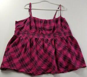 Torrid-Women-s-Spaghetti-Strap-Sleeveless-Blouse-Top-Sz4-Pink-Black-Plaid-Cotton