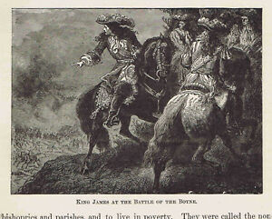 Details about King James at the Battle of the Boyne - 1882 Page of European  History