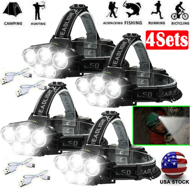 Super-bright 350000LM 5X T6 LED Headlamp Headlight Torch Rechargeable Flashlight