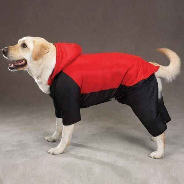SNOWSUIT DOG Ski Jacket Snow Winter Coat with Removable Legs & Hood Nylon Red