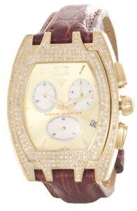 Aqua-Master-Men-039-s-Champagne-Dial-Burgundy-Leather-Band-3-5ct-Diamond-Watch-W35