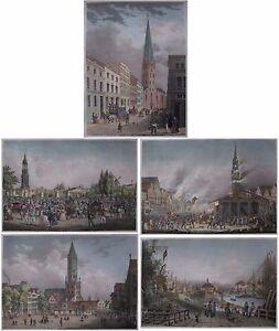 Hamburg - 5 seltene originale Lithografien - Robert Bürger, Arldt, Weider - 1850 - Hamburg, Deutschland - Hamburg - 5 seltene originale Lithografien - Robert Bürger, Arldt, Weider - 1850 - Hamburg, Deutschland