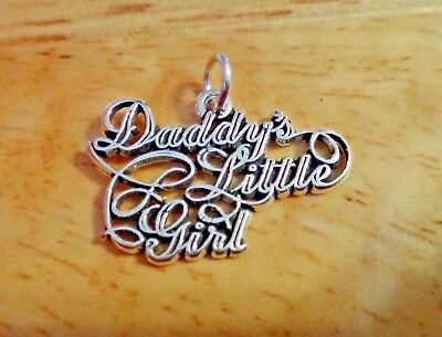 Sterling Silver SMALL 15x11mm Father Daddy says Dad on a heart Charm