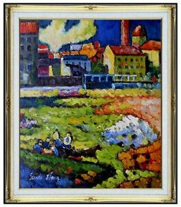 Framed-Oil-Painting-Kandinsky-039-s-Munich-Schwabing-with-Church-Repro-20x24in