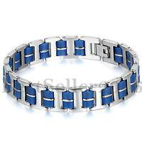 """13MM Men's Silver Stainless Steel Blue Rubber Bracelet Biker Link Cuff 8.9"""""""