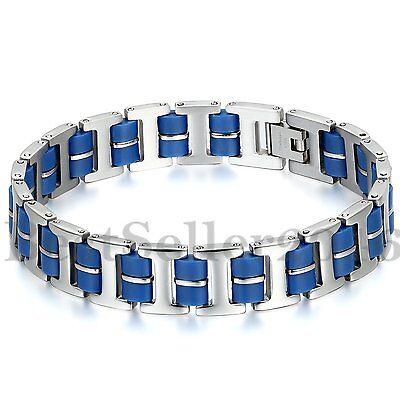 """13MM Men/'s Silver Stainless Steel Blue Rubber Bracelet Biker Link Cuff 8.9/"""""""