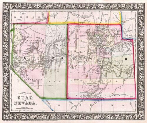 MAP ANTIQUE 1866 MITCHELL UTAH NEVADA HISTORIC LARGE REPRO POSTER PRINT PAM1870