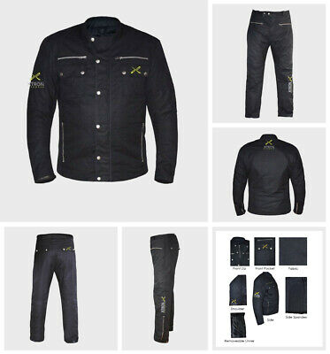 Motorcycle Classic Cotton Waxed Waterproof Breathable Lined Biker Jacket Trouser
