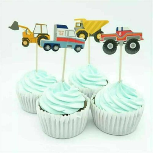 trucks football Cupcake Toppers Birthday Party picks 24,48 farm animal tractor