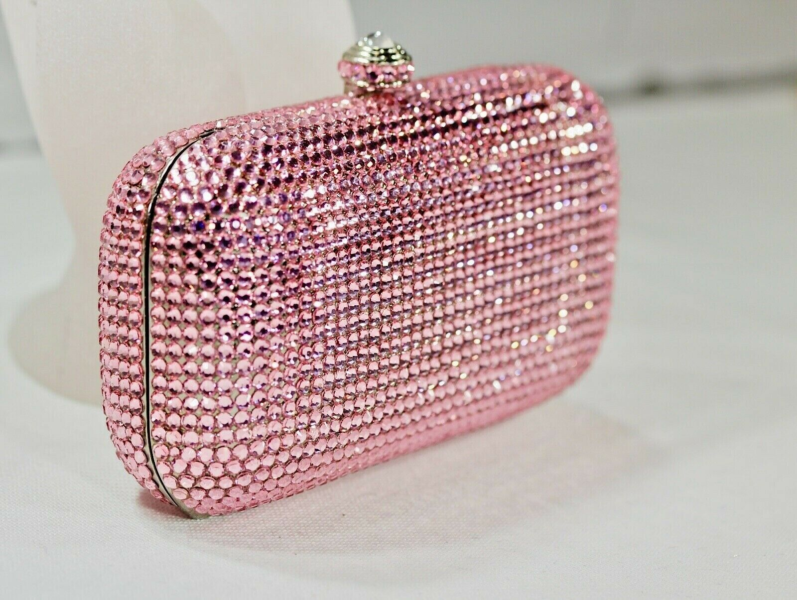 Fully Crystallized Evening Bag Clutch Small Purse Pink with Swarovski Crystals