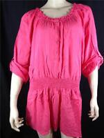 Lane Bryant $49.95 Pink Rayon Smocked Waist Blouse Top Plus Sz 18/20