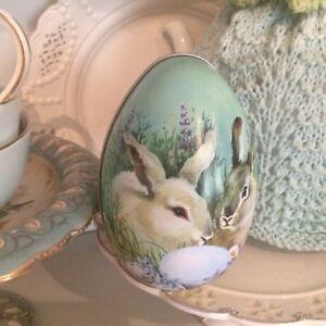 Retrovintage style tin rabbit bunny easter egg shaped gift box ebay image is loading retro vintage style tin rabbit bunny easter egg negle Images