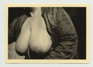 Close-Up-Of-Mature-Womans-Huge-Boobs-2-Side-View-Vintage-Photo-B-W-1950s
