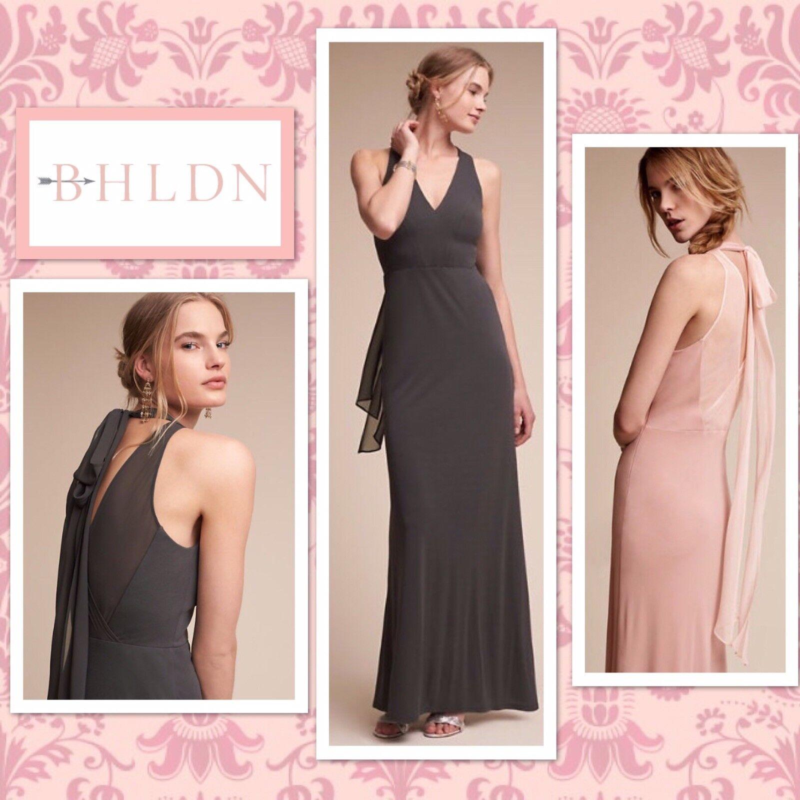 New BHLDN BILLIARD grau Rosa Rosa V-Neck Jersey Maxi Bridesmaid Formal 2 6 14