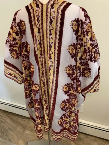 Free People Muse Burn Out Velvet Kimono Top Red Flowy One Size Cover Up NWT