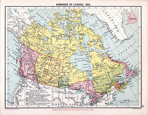 Map Of Canada 1905.Dominion Of Canada 1905 Robertson Bartholomew Antique Map Ebay