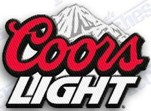 COORS-LIGHT-Beer-iron-on-embroidered-patch-2-2-X-1-8-SILVER-BULLET-BREW-rocky