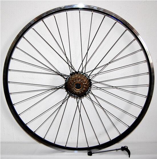 Schwarz Hinterrad  schwarz 28  HOHLKAMMERFELGE geöst 7-fach Ritzel QR geöst  | Ausgezeichnetes Preis